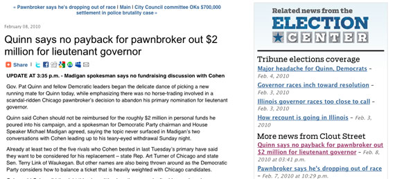 Example of an Election Center widget on a story about Pat Quinn