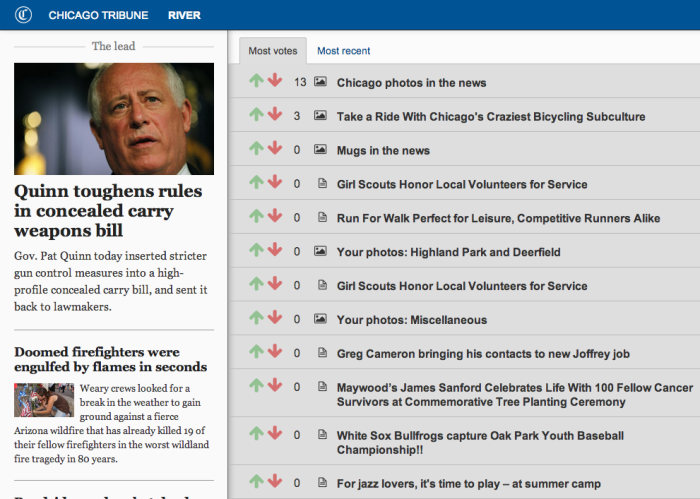 Screenshot of Chicago Tribune River site