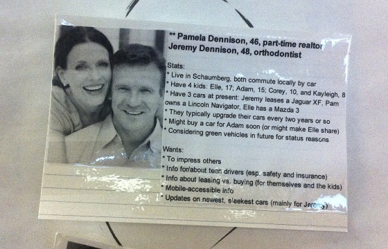 Meet the (fictional) Dennisons, a sample persona. Sorry about the tape glare.